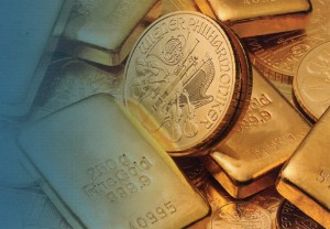 Gold coin and bars